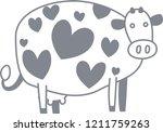 cute cow silhouette illustration   Shutterstock .eps vector #1211759263