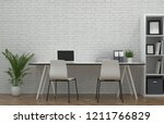 white chair shelves in front of ... | Shutterstock . vector #1211766829
