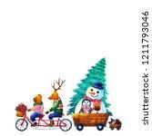 christmas animal happy new year ... | Shutterstock . vector #1211793046