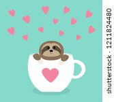 sloth sitting in coffee cup... | Shutterstock .eps vector #1211824480