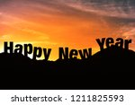 silhouette of happy new year in ... | Shutterstock . vector #1211825593