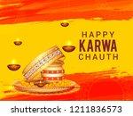 illustration of happy karwa... | Shutterstock .eps vector #1211836573