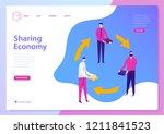 vector sharing economy landing... | Shutterstock .eps vector #1211841523