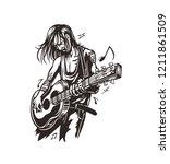 rockstar guy playing guitar ... | Shutterstock .eps vector #1211861509