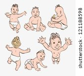 set of hand drawn babies | Shutterstock .eps vector #121188598