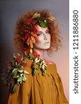 art portrait of women autumn in ... | Shutterstock . vector #1211886880