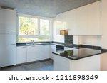 modern white kitchen with... | Shutterstock . vector #1211898349