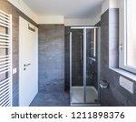 elegant bathroom with dark... | Shutterstock . vector #1211898376
