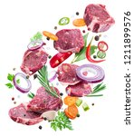 falling down meat steaks and... | Shutterstock . vector #1211899576