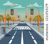 illustration of city crossroad ... | Shutterstock . vector #1211915179
