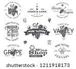 wine logos  labels set. winery  ...   Shutterstock . vector #1211918173