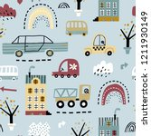 childish seamless pattern with... | Shutterstock .eps vector #1211930149