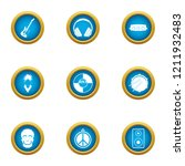 music threat icons set. flat... | Shutterstock .eps vector #1211932483