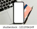 mobile online payment. modern... | Shutterstock . vector #1211936149