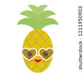 cute funny kawaii exotic fruit... | Shutterstock . vector #1211950903