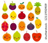 set of cute funny kawaii fruit... | Shutterstock . vector #1211950909