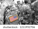 US army uniform patch flag. US Army. Military Concept.  - stock photo