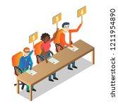jury judges holding scorecards. ... | Shutterstock .eps vector #1211954890