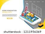 home renovation mobile apps... | Shutterstock .eps vector #1211956369