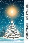 winter landscape  christmas... | Shutterstock .eps vector #1211968183