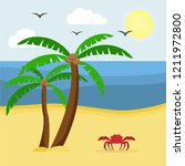 seascape with palm trees and... | Shutterstock .eps vector #1211972800