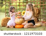two young girls sitting on... | Shutterstock . vector #1211973103