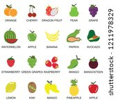 fruits and berries icons... | Shutterstock .eps vector #1211978329