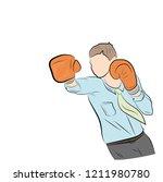 businessman in boxing gloves... | Shutterstock .eps vector #1211980780