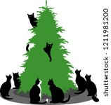 black cats sit around the... | Shutterstock .eps vector #1211981200
