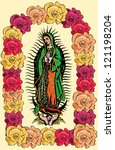 The Virgin of Guadalupe and color roses - vector