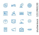 collection of 16 media outline... | Shutterstock .eps vector #1211983150