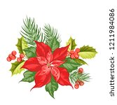 composition of red poinsettia...   Shutterstock .eps vector #1211984086