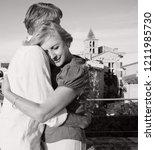 black and white portrait of... | Shutterstock . vector #1211985730