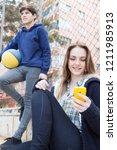 diverse teenager studends... | Shutterstock . vector #1211985913