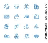 collection of 16 coin outline... | Shutterstock .eps vector #1212002179