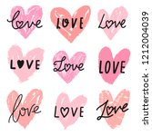 vector hearts doodle set with... | Shutterstock .eps vector #1212004039