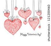 doodle textured hearts baubles... | Shutterstock .eps vector #121200460