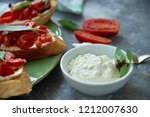 italian bruschetta with chopped ... | Shutterstock . vector #1212007630