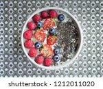 yoghurt with berries ... | Shutterstock . vector #1212011020