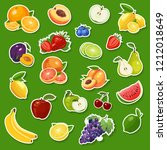 stickers with fresh natural... | Shutterstock .eps vector #1212018649