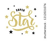 hand sketched super star text... | Shutterstock .eps vector #1212021076