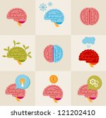 vector set of 9 brain icon... | Shutterstock .eps vector #121202410