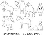 cute horse doodle drawing set   Shutterstock .eps vector #1212031993