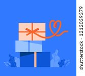 gift box with a ribbon in shape ... | Shutterstock .eps vector #1212039379