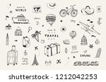 set of hand drawn travel doodle ... | Shutterstock .eps vector #1212042253