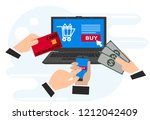concepts of online payment... | Shutterstock .eps vector #1212042409