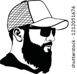 hipster fashion man hair and... | Shutterstock .eps vector #1212051676