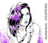 beautiful young woman in shirt...   Shutterstock .eps vector #1212055303