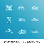 delivery icon set and suv with... | Shutterstock .eps vector #1212060799