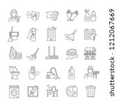 cleaning service linear icons... | Shutterstock .eps vector #1212067669